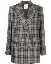 Женский серый двубортный пиджак в шотландскую клетку от CITYSHOP
