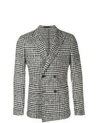 Мужской серый двубортный пиджак в шотландскую клетку от Ermenegildo Zegna