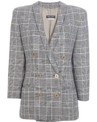 Женский серый двубортный пиджак в шотландскую клетку от Giorgio Armani