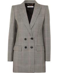 Женский серый двубортный пиджак в шотландскую клетку от Givenchy