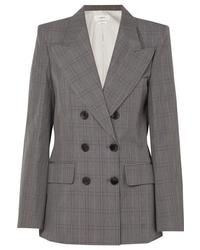 Женский серый двубортный пиджак в шотландскую клетку от Isabel Marant Etoile