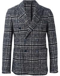 Мужской серый двубортный пиджак в шотландскую клетку от Jeordie's