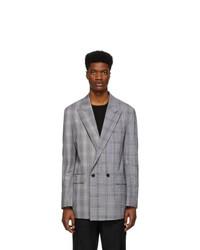 Мужской серый двубортный пиджак в шотландскую клетку от Juun.J