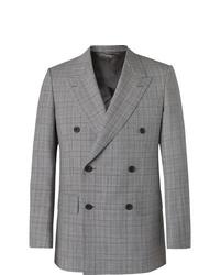 Мужской серый двубортный пиджак в шотландскую клетку от Kingsman