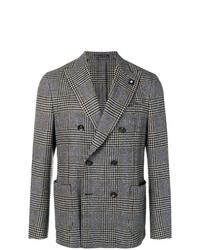 Мужской серый двубортный пиджак в шотландскую клетку от Lardini