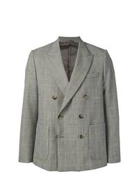 Мужской серый двубортный пиджак в шотландскую клетку от Maison Flaneur