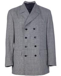 Мужской серый двубортный пиджак в шотландскую клетку от Moschino
