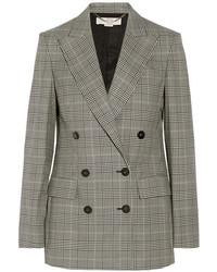 Женский серый двубортный пиджак в шотландскую клетку от Stella McCartney