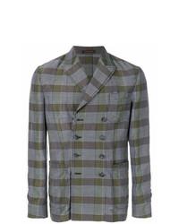 Мужской серый двубортный пиджак в шотландскую клетку от The Gigi