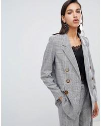Женский серый двубортный пиджак в шотландскую клетку от Vero Moda