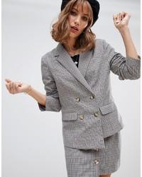Женский серый двубортный пиджак в шотландскую клетку от Wild Honey