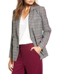 """Серый двубортный пиджак с узором """"гусиные лапки"""""""
