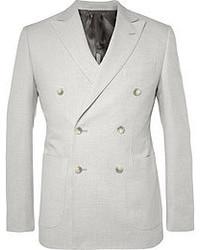 Серый двубортный пиджак