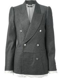 Женский серый двубортный пиджак от Alexander McQueen