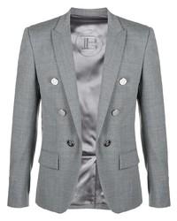 Мужской серый двубортный пиджак от Balmain