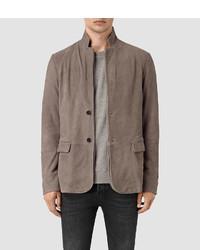 Серый замшевый пиджак