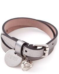 Мужской серый кожаный браслет от Alexander McQueen