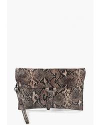 Серый кожаный клатч со змеиным рисунком от Cheribags