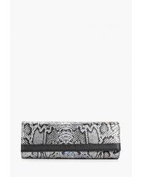Серый кожаный клатч со змеиным рисунком от D.Angeny