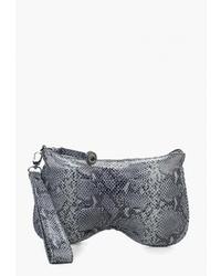 Серый кожаный клатч со змеиным рисунком от Franchesco Mariscotti