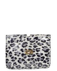 Серый кожаный клатч с леопардовым принтом
