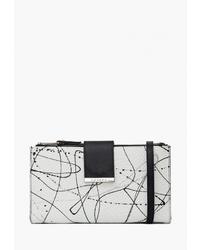 Серый кожаный клатч с принтом от Labbra