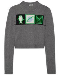 Женский серый короткий свитер с принтом от Miu Miu
