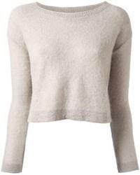 Серый короткий свитер