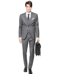 Серый костюм-тройка в клетку