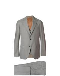 Серый костюм-тройка в клетку от Gabriele Pasini
