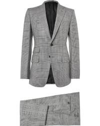 Серый костюм-тройка в клетку от Tom Ford