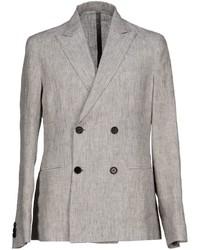 Серый льняной двубортный пиджак