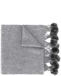 Женский серый меховой плетеный шарф от N.Peal