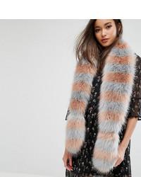 Женский серый меховой шарф