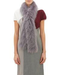 Женский серый меховой шарф от Barneys New York