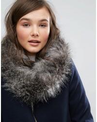 Женский серый меховой шарф от Jack Wills