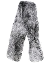 Женский серый меховой шарф от N.Peal