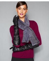 Женский серый меховой шарф от The Fur Vault