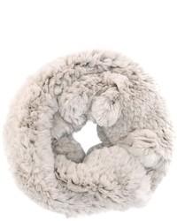 Женский серый меховой шарф от Yves Salomon