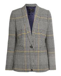 Женский серый пиджак в шотландскую клетку от J.Crew
