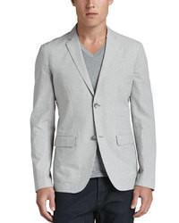 Серый пиджак из жатого хлопка