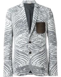 Серый пиджак с принтом