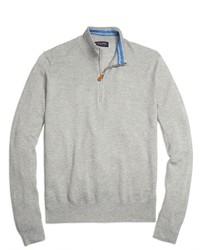 Серый свитер с воротником на молнии