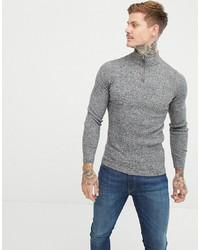 Мужской серый свитер с воротником на молнии от ASOS DESIGN