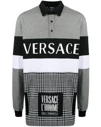 Мужской серый свитер с воротником поло с принтом от Versace