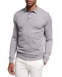 Серый свитер с воротником поло