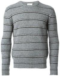 Серый свитер с круглым вырезом в горизонтальную полоску
