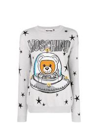 Женский серый свитер с круглым вырезом со звездами от Moschino