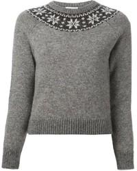Серый свитер с круглым вырезом с жаккардовым узором