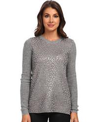Серый свитер с круглым вырезом с леопардовым принтом